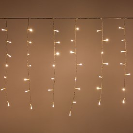 Rideau 3,4 x 0,75 m, 144 LED blanc chaud, câble transparent, prolongeable