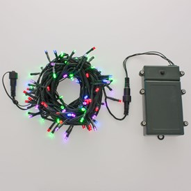 Catena a batteria 50 m, 500 led multicolor, cavo verde