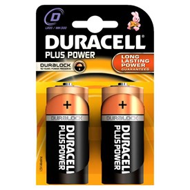 2 Batterien Typ D Duracell Plus Power Duralock
