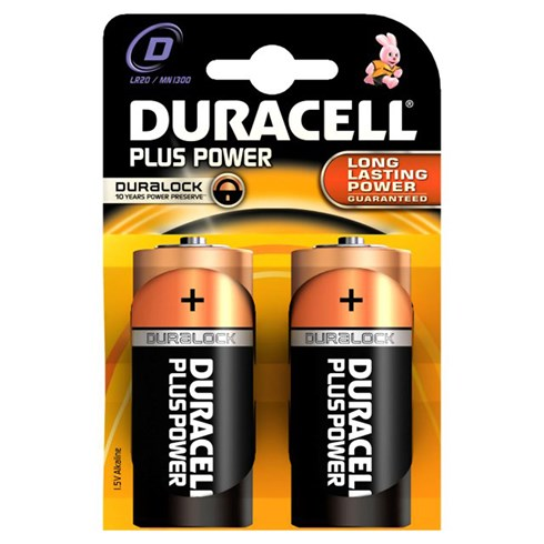2 batterie D Duracell Plus Power (torcia)
