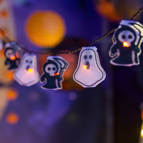Dekolichterkette 1,35 m, 10 LED-Gespenster Halloween orange