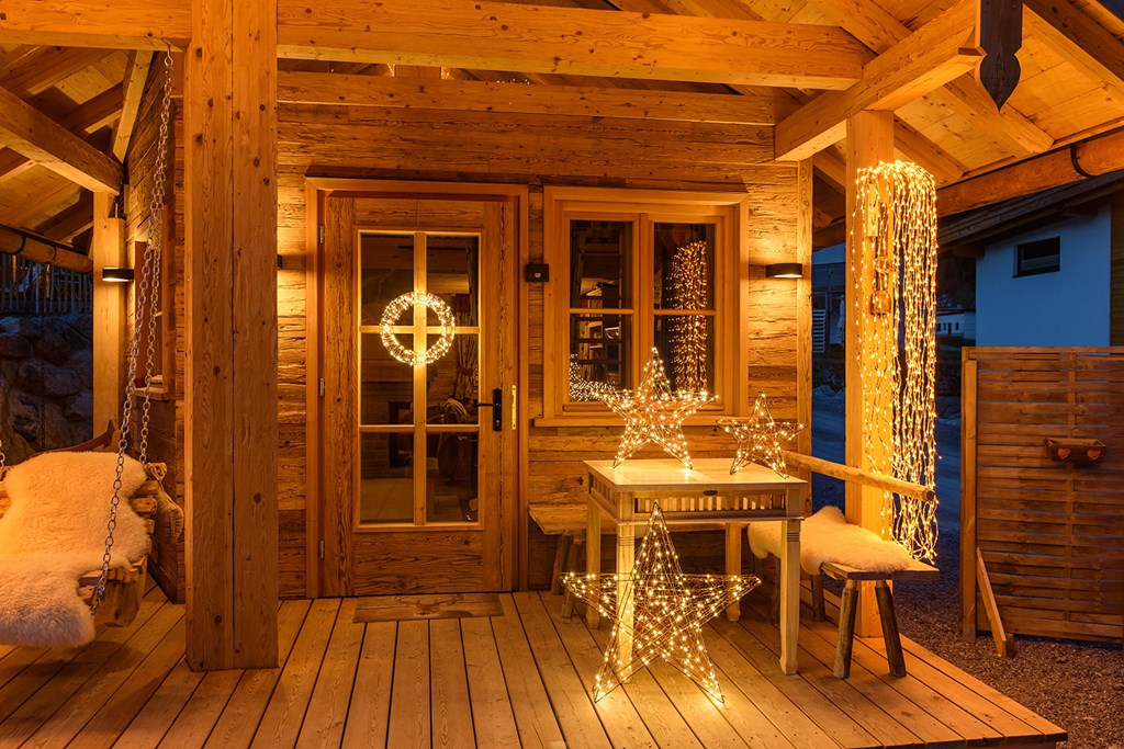 Chalet Grand Flüh rama de sauce color cobre h 200 cm 736 led blanco cálido