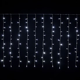 Rideau 2,55 x 1,10 m, 180 LED blanc froid, câble transparent, prolongeable