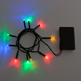 Catena a batteria 90 cm, 10 led multicolor, cavo verde