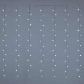 Rideau 3 x 1,52 m, 182 LED blanc froid, câble transparent