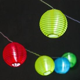Catena decorata 11,2 m, 32 lanterne multicolor Ø 8 cm, led bianco freddo