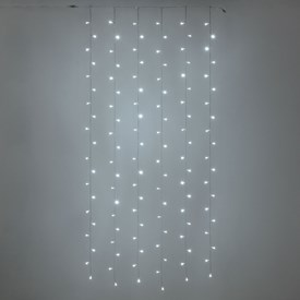 Rideau 1 x h. 2 m, 120 led blanc froid, câble transparent, prolongeable