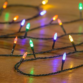 Guirnalda de luces retro 20,4 m, 200 LED multicolor, cable verde