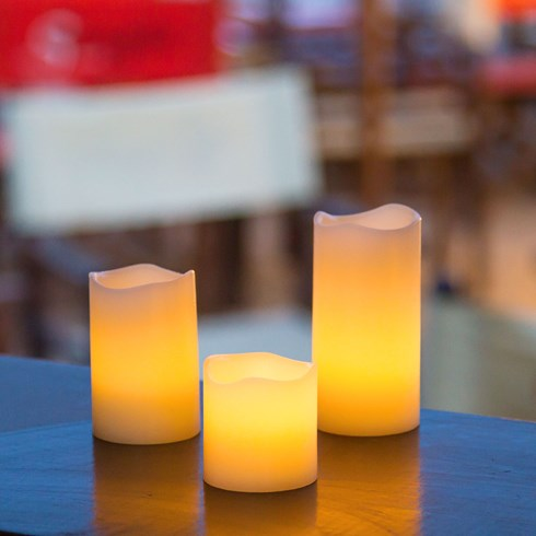 Set 6 candele in cera, led bianco caldo