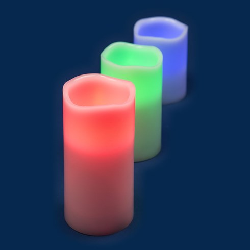 Set 3 candele multicolor, led RGB