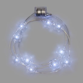 Collier Brilly 60 cm à piles, 10 fleurs led blanc froid