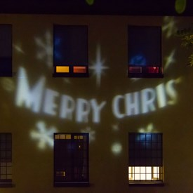 Projecteur Merry Christmas, led blanc froid, rotation automatique