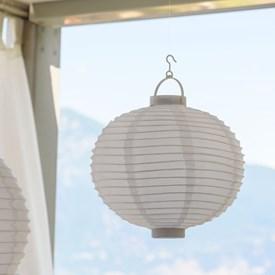 Lanterna party in tessuto bianco, Ø 30 cm, 3 led bianco caldo