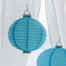 Lanterna luminosa in tessuto blu, Ø 30 cm, 3 led bianco caldo