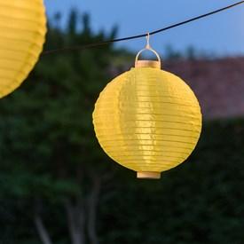 Lanterna luminosa in tessuto giallo, Ø 30 cm, 3 led bianco caldo