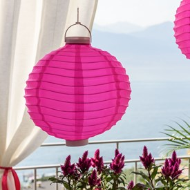 Lanterna luminosa in tessuto rosa, Ø 30 cm, 3 led bianco caldo