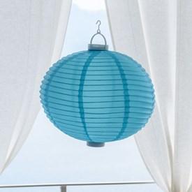 Lanterna luminosa in tessuto blu, Ø 40 cm, 3 led bianco caldo