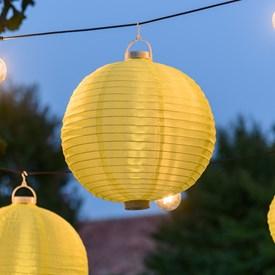 Lanterna luminosa in tessuto giallo, Ø 40 cm, 3 led bianco caldo