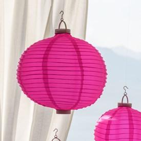 Lanterna luminosa in tessuto rosa, Ø 40 cm, 3 led bianco caldo