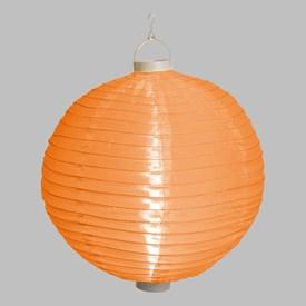 Lanterna luminosa in tessuto arancione, Ø 40 cm, 3 led bianco caldo