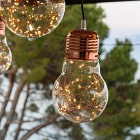 Tropfenbirne zum Aufhängen Ø 14 cm, 40 Micro LEDs warmweiß auf Metalldraht