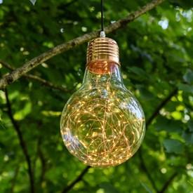 Tropfenbirne zum Aufhängen Ø 21,5 x h 34 cm, 100 Micro LEDs warmweiß auf Metalldraht