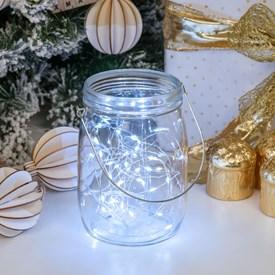 Lucine in barattolo di vetro trasparente Ø11 x h 15,5 cm, 40 MicroLED bianco freddo a batteria