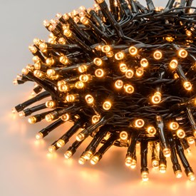 MiniCluster Lichterkette 14,9 m, 720 LEDs warmweiß traditionell, grünes Kabel