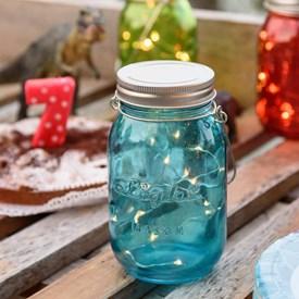 Barattolo in vetro blu, h 15 cm, 15 microled bianco caldo, batteria