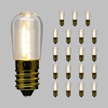 Set di 20 lampadine in plastica per cordoniera, Filament led bianco caldo E14, 12V