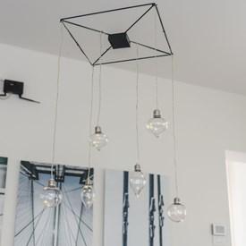 Deckenleuchter 40 x h 70 cm, 6 LED-Birnen mit Micro LEDs warmweiß, batteriebetrieben