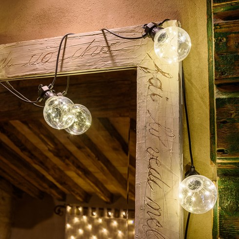 Catena Party 5 m, 10 lampadine con microled bianco caldo