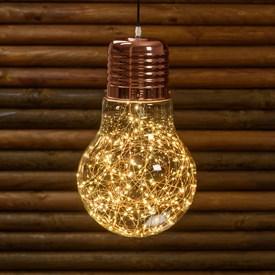 Tropfenbirne zum Aufhängen Ø 30 x h 45 cm, 200 Micro LEDs warmweiß auf Metalldraht
