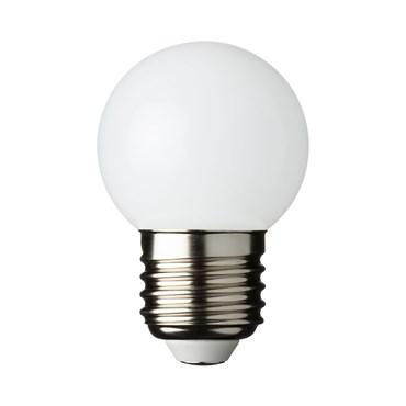 Lampadina a globo bianca in plastica, E27, Ø 45 mm, bianco caldo, 1,2W