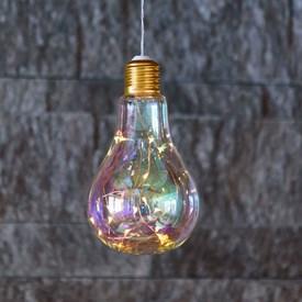 Tropfenbirne aus geblasenem Glas h 21 cm, 15 Micro LEDs warmweiß, mit Timer, batteriebetrieben