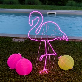 Lampe Flamant rose en tube néon double face h 115 cm, 480 led, côté droit