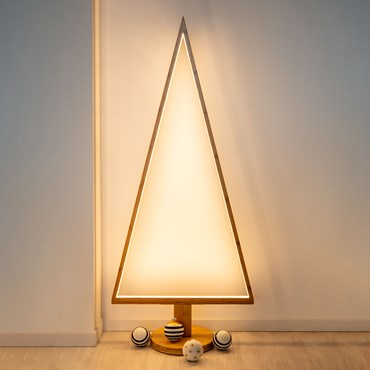 Design Wood Light, Albero di Natale in legno naturale, 145 cm, led bianco caldo, uso interno