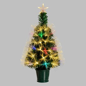 Sapin artificiel vert, fibre optique multicolor, 70 cm, led blanc chaud et RGB