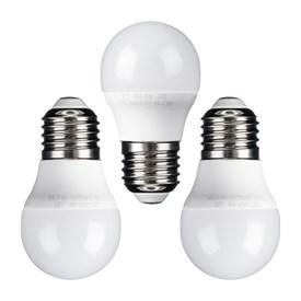 Set 3 lampadine led Mini Sfera Ø 45 mm, E27, 6 Watt, bianco caldo, plastica bianca