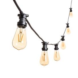 Vintage Lichterkette mit LED Edison Birnen Ø 64 mm, schwarzes Kabel, 230V, erweiterbar