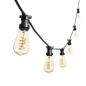 Vintage Lichterkette mit LED Edison Birnen Ø 64 mm, Spiral Filament, schwarzes Kabel, 230V, erweiterbar