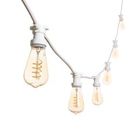 Vintage Lichterkette mit LED Edison Birnen Ø 64 mm, Spiral Filament, weißes Kabel, 230V, erweiterbar