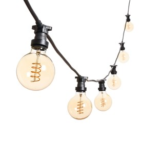 Vintage Lichterkette mit LED Globo Birnen Ø 95 mm, Spiral Filament, schwarzes Kabel, 230V, erweiterbar