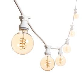 Vintage Lichterkette mit LED Globo Birnen Ø 95 mm, Spiral Filament, weißes Kabel, 230V, erweiterbar