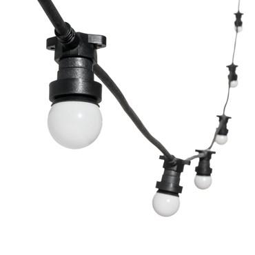 Catena 5 m di lampadine led vintage a globo Ø 45 mm in plastica bianca, cavo nero, 230V, prolungabile