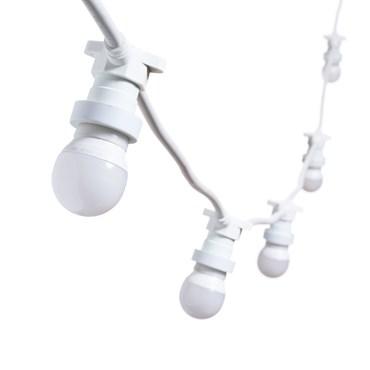 Catena 5 m di lampadine led vintage mini sfera Ø 45 mm in plastica, cavo bianco, 230V, prolungabile