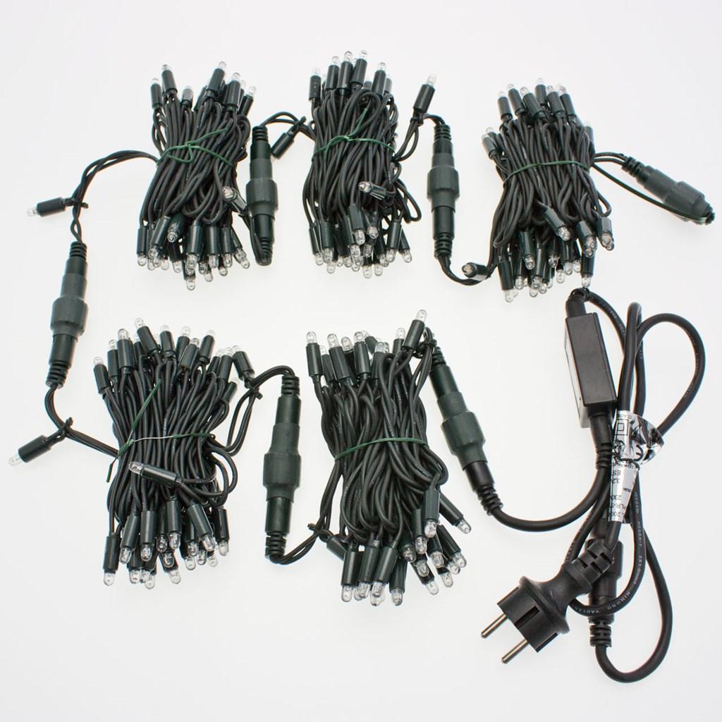 Lichterkette 100 m, 1000 Maxi LEDs warm- und kaltweiß, grünes Kabel ...