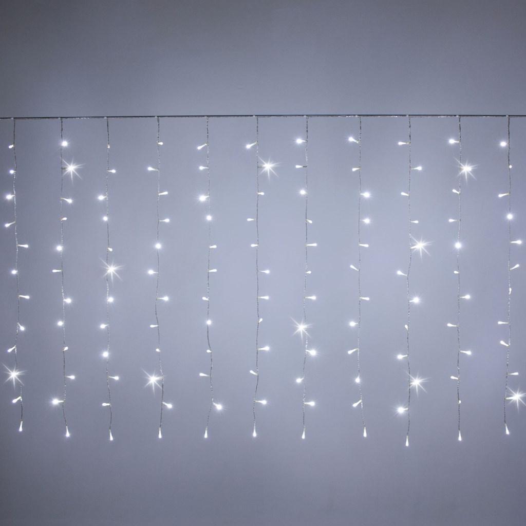Cortina de luces 2 55 x h 1 10 m 180 led blanco fr o con for Cortinas con luces