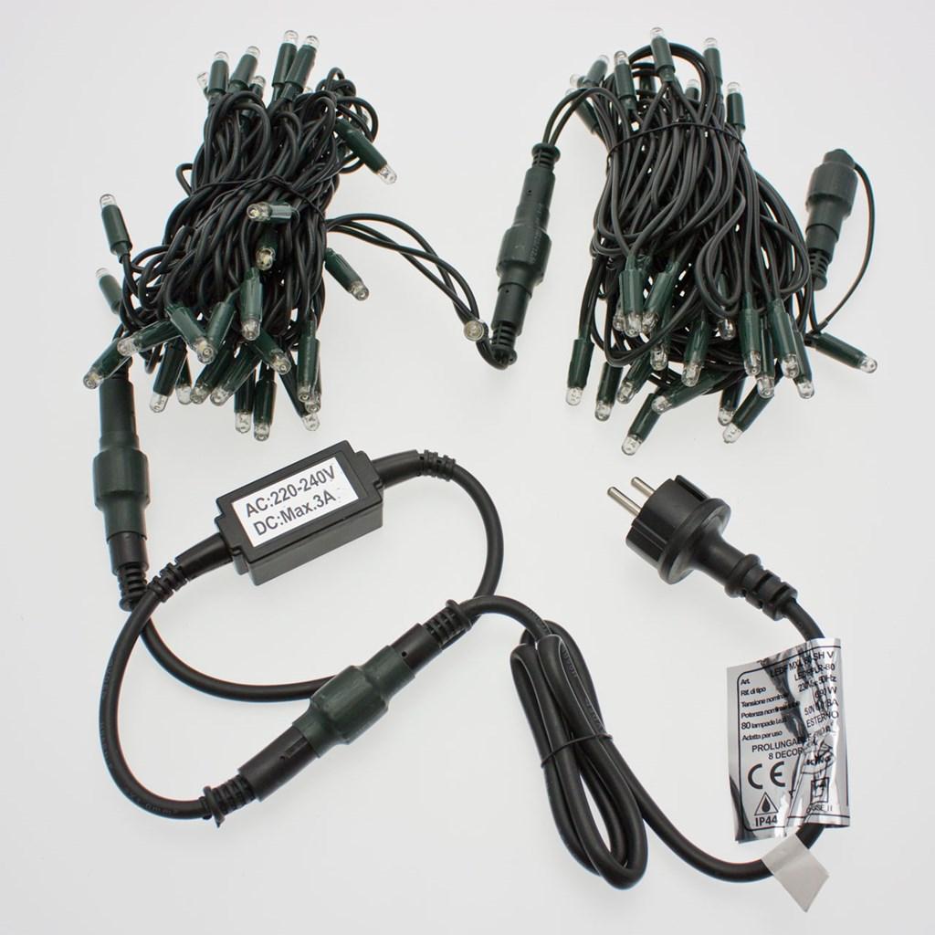 Lichterkette 50 m, 600 Maxi LEDs blau, grünes Kabel - Lichterketten