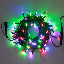 Catena 10 m, 100 led multicolor, cavo verde, prolungabile